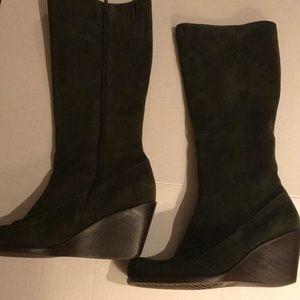 Aerosoles Tall Suede Boots - Dark Green Sz 8